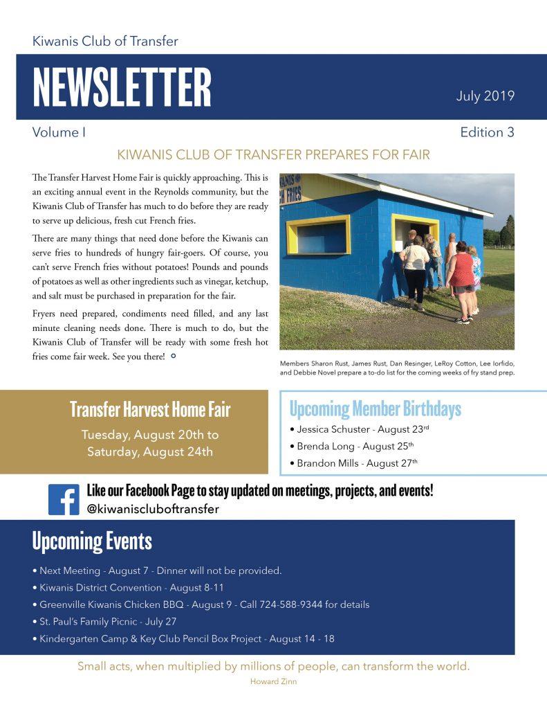 Newsletters – Kiwanis Club of Transfer